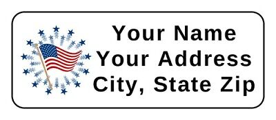 American Flag Patriotic Big Personalized Address Labels 2.625 X 1 Inch