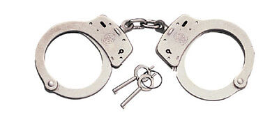 Smith & Wesson 350103 Nickel S&W Model 100 Chain Link Police Handcuffs & Keys