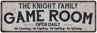- THE KNIGHT FAMILY Personalized Game Room Country Metal  Sign 106180042420