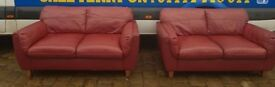 PAIR OF LEATHER TWO SEATER SOFAS - GREAT CONDITION