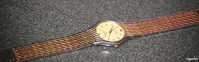 vintage SEIKO Japan MENS DRESS WATCH water resistant gold plate link band 787087