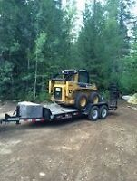 excavator, skid steer, trailer and attachments