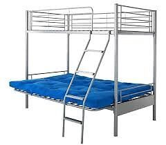 High sleeper metal frame single bed with double futon - Excellent condition