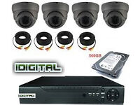 cctv camera system includes 4 channel dvr with 500gb + 4 hd cameras +full kit