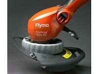 FLYMO CONTOUR 500XT-GARDEN TRIMMER DUAL POSITION WITH MEDIA AND NEARLY FULL.