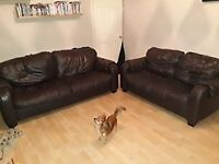 Brown Leather sofas 3 and 2seaters