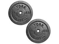 York cast iron 100KGweight plates plus dumbells and barbell