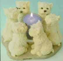Circle of West Highland White Terriers, Westie circle candle