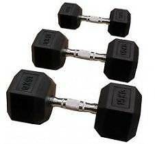 Pair of 17.5kg Rubber Hex Dumbbells Bankstown Bankstown Area Preview