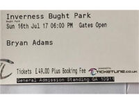 Bryan adams tickets Bught park Inverness Sunday 16th Jul £98 face value x 2