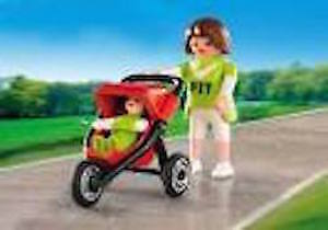 Playmobil Mother w/ Baby & Jogging Stroller ~ Complete ~LIKE NEW