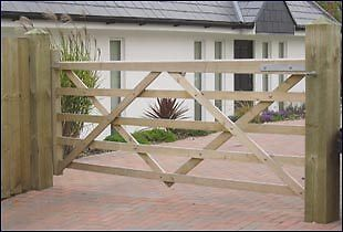 12FT WOODEN SOMERFIELD FIVE BAR FIELD GATE Right Hung