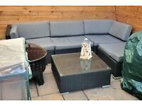 Rattan Furniture, 4 seater and glass top table with grey cushions