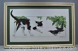 Cat and Grackles Limited Edition Numbered Vintage Print by Katie Shears - B
