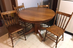 Antique table and chsirs