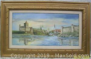 Large Oil Painting Talin Castle Signed Arville Pustram-Uus Noted Estonian Artist