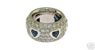 Estate 18k Wg Ladies Pave Diamond Sapphire Heart Ring