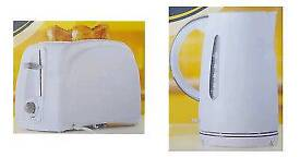 New ESSENTIAL WHITE 2 WIDE SLICE TOASTER 780W & JUG KETTLE 1.5L 1850-2200W