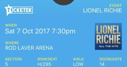 LIONEL RICHIE TICKETS MELBOURNE x 4 GOLD RESERVED SEATING