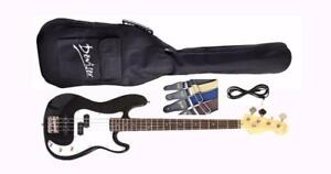 Bass Guitar with Free Gig bag, Strap, Cable Full Size Brand New Black iMEB265 iMusicGuitar