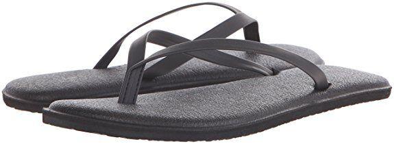 Women Sanuk Yoga Bliss Sandal Flip Flop SWS11048 Black 100%