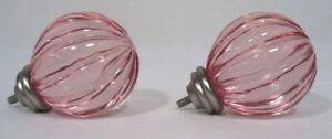 Pottery Barn Curtain Rod and Finials - Pink Glass