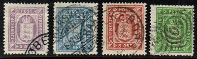 Denmark O6-O9 Used 1875 Officials Set Perf 14 x 13½, CV $93.25