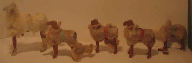 Old Primitive Early Wood & Cotton Sheep Family for Christmas Putz Village 5 Pcs