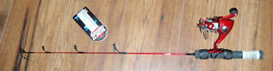 Red Zebco ice fishing rod and reel