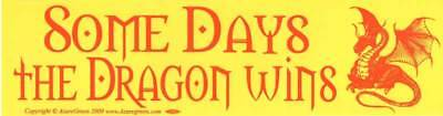 """Some Days the Dragon Wins"" Fantasy Inspirational Motivational Bumper Sticker"