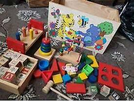 Classic Childrens Toy Chest with all sorts of learning n building toys for young children £8