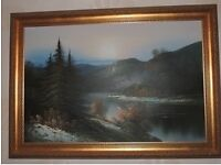 Large Oil Painting of Lake Scene
