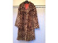 Ladies Leopard Skin Faux-Fur Coat