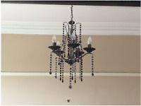 Black/blue 5 arm Next chandelier