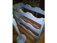 Shabby chic kitchen toilet roll towel holder painted wood wine rack F&B Parma grey blue shabby chic