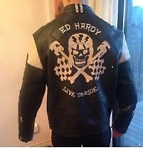 ed hardy black leather jacket with white leather trim