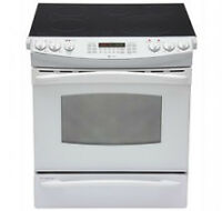 STOVE GE PROFILE SMOOTHTOP CONVECTION WHITE OPEN BOX NEW