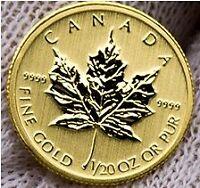 Gold Maple Leaf coin 1/20 Troy oz, 24 Karat (Gem Uncirculated)