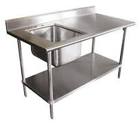 STAINLESS STEEL SINKS,PREP TBL'S, EQUIPM'T STANDS & WALL SHELVES