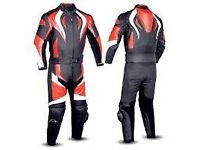 Black/red Motorbike Leather Racing Suit l! 1 or 2 pieve