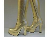 Fancy dress/glam rock 70's gold boots