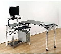 Black Glass Computer Desk from Homebase