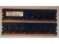 x2 4gb Elpida 2GB 2Rx8 PC2-6400U-666 pc ram ddr2
