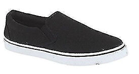 New Ladies Black & White Flat Espadrilles Pumps Plimsolls Loafers Deck Boat Shoes.Size 4.