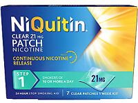 6 boxes of NiQuitin 21mg clear patches 7 per box 42 in total, £26,64 per box,