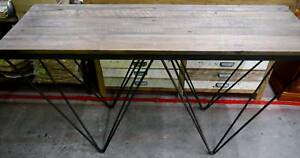 New Rustic Industrial Recycled Timber Hair Pin Console Hall Table Melbourne CBD Melbourne City Preview