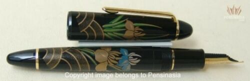 Sailor Large Classic Kyo Maki-e Kakitsubata (iris) Fountain Pen 21 K Gold Nib !!