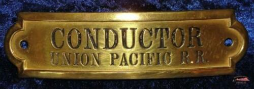 UPRR - Union Pacific Railroad Gold Rectangular Conductor Hat Badge