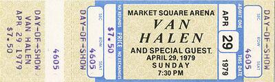 Van Halen Vintage Unused Concert Ticket - April 29, 1979 (Day of Show) Indiana
