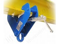 H I beam clamp securing to RSJ lifting engine hoist crane block & tackle pulley steel joist 2&3 ton